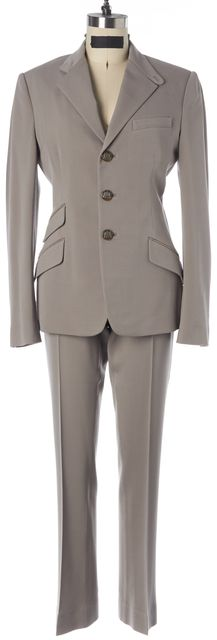 RALPH LAUREN Taupe Gray Wool Suede Trim Three Button Pant Suit Set