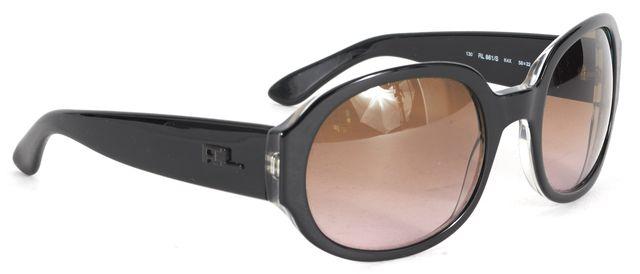 RALPH LAUREN Black Acetate Frame Gradient Lens Oval Sunglasses