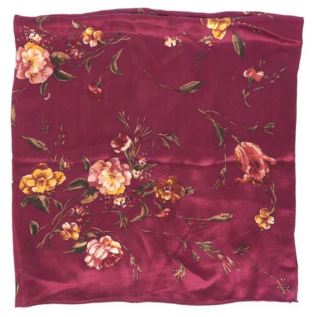 RALPH LAUREN Burgundy Red Satin Floral Printed Scarf