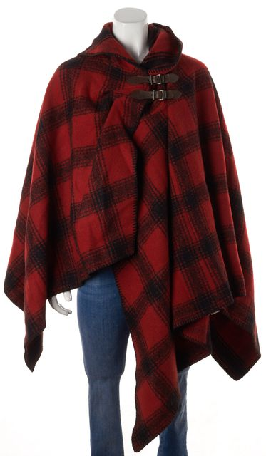 RALPH LAUREN Red Plaid Wool Cape Outerwear