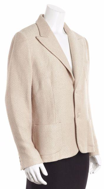 RALPH LAUREN Natural Beige Tweed 2-Button Blazer