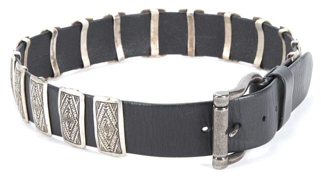RALPH LAUREN Black Leather Metal Belt