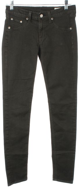 RAG & BONE/JEAN Dark Green Stretch Cotton Mid-Rise Legging Jeans