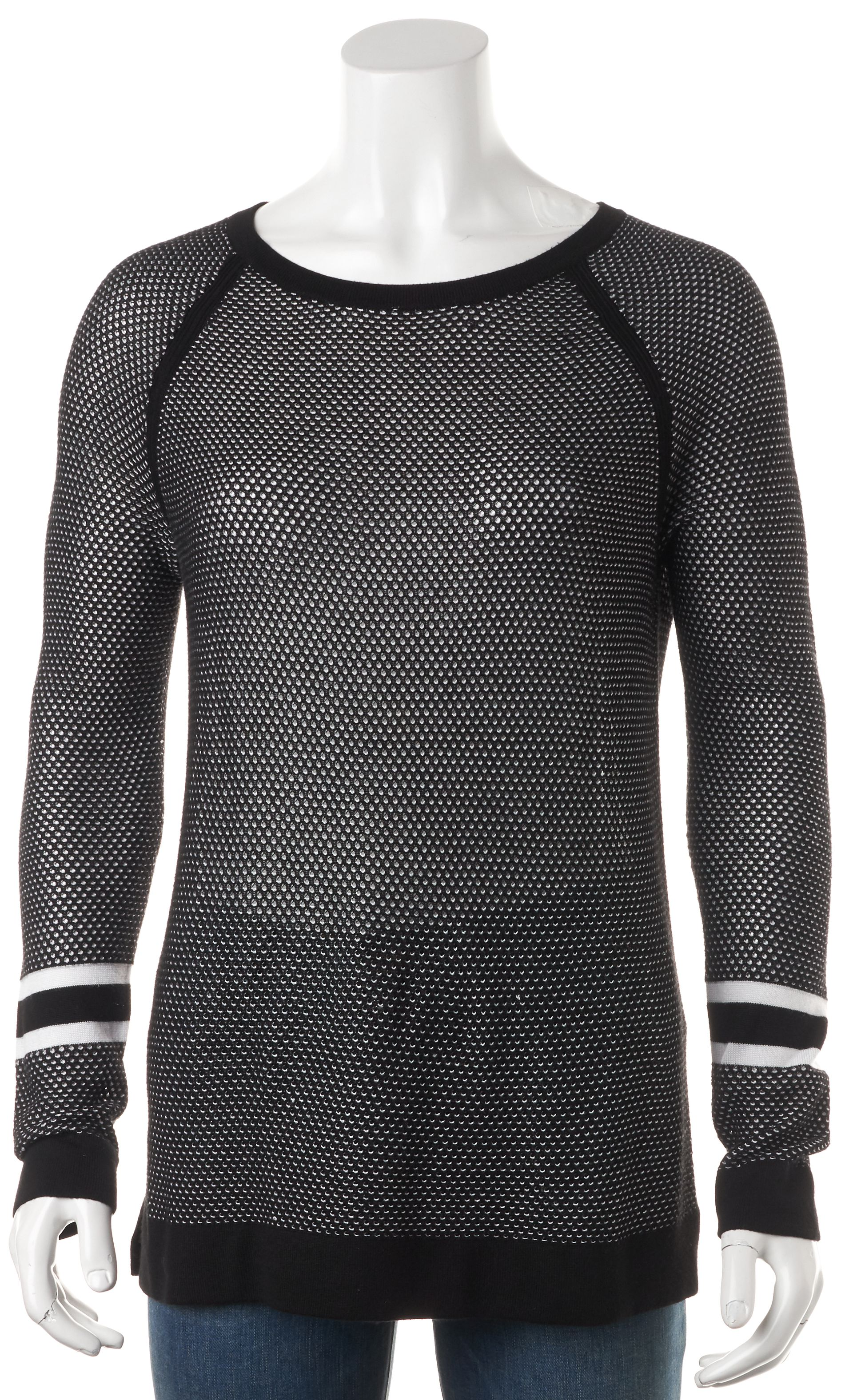 rag & bone/JEAN Black White Boat Neck Perforated Open Knit Sweater ...