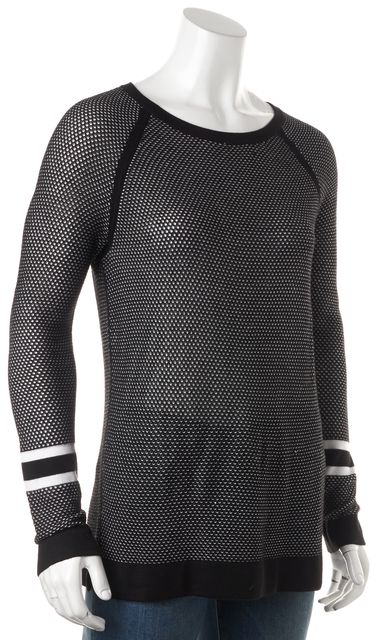 RAG & BONE/JEAN Black White Boat Neck Perforated Open Knit Sweater