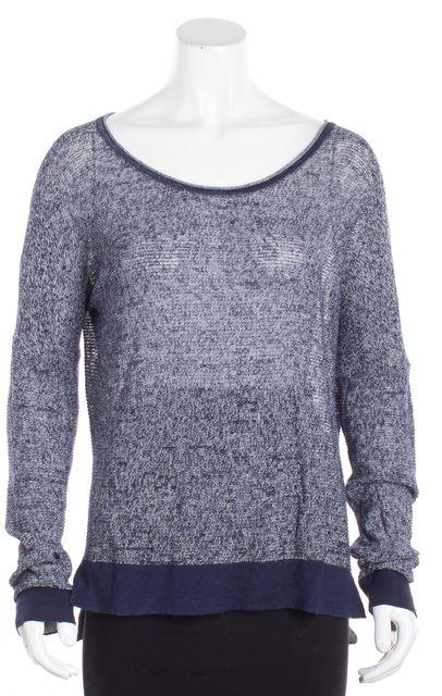 RAG & BONE/JEAN Blue Linen Thin Knit Crewneck Sweater