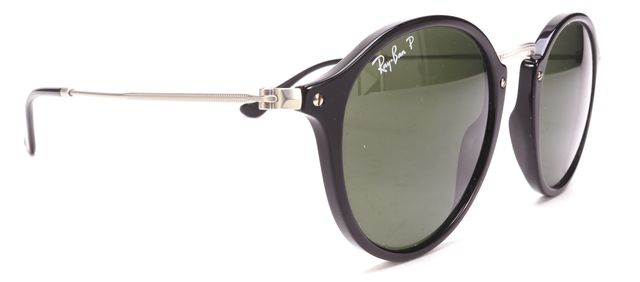 RAY BAN Black Acetate Round Frame Sunglasses w/ Case