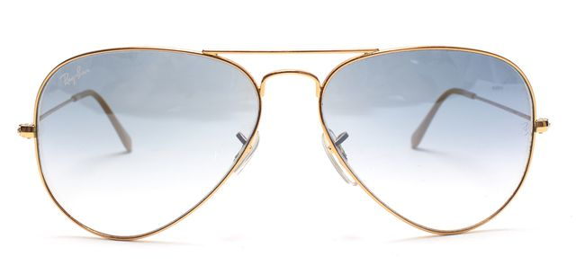 RAY-BAN RAY BAN Gold Blue Wire Frame Gradient Lens Aviator Sunglasses