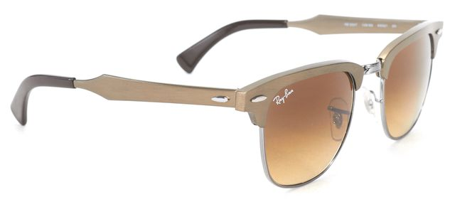 RAY BAN Brushed Brass Frame Gradient Lens Clubmaster Sunglasses