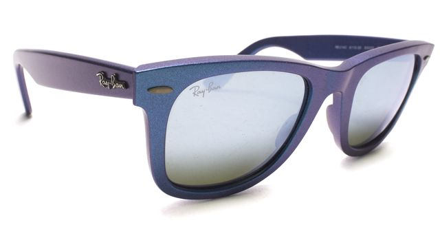 RAY BAN Metallic Blue Mirrored Lens Cosmo Collection Wayfarer Sunglasses