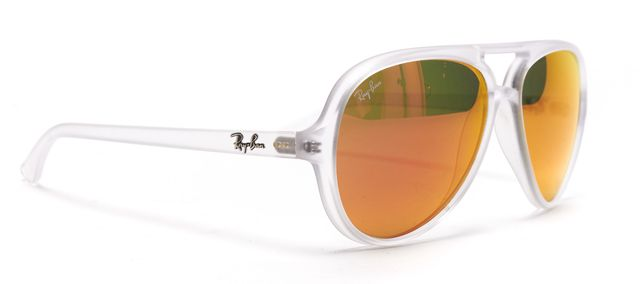 RAY BAN Clear Orange Mirrored Lens Matte Acetate Aviator Sunglasses