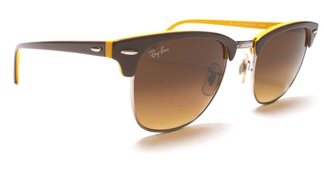 RAY BAN Taupe Brown Yellow Clubmaster Sunglasses