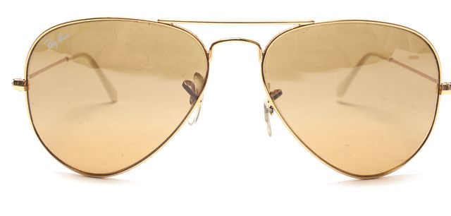 RAY BAN Gold Brown Wire Frame Aviator Sunglasses