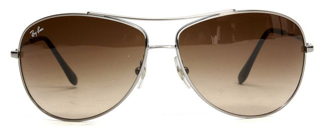 RAY-BAN Silver Wire Frame Brown Lens Aviator Sunglasses w/ Case