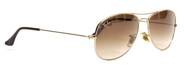 RAY-BAN Gold Wire Frame Brown Gradient Lens Cockpit Aviator Sunglasses