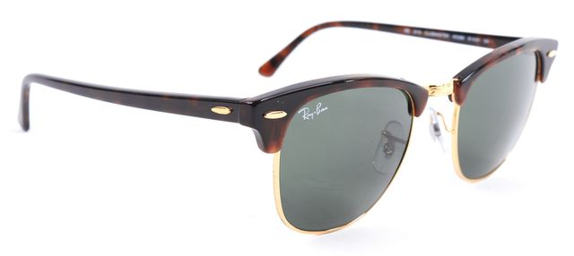 RAY-BAN Brown Gold Tortoise Acetate Frame Clubmaster Sunglasses