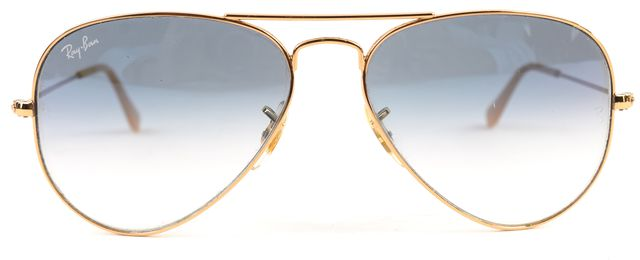 RAY-BAN Gold Blue Wire Frame Gradient Mirrored Lens Aviator Sunglasses