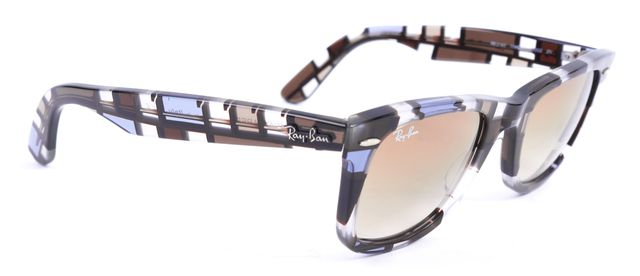 RAY-BAN Blue Brown Clear Acetate Frame Gradient Lens Wayfarer Sunglasses