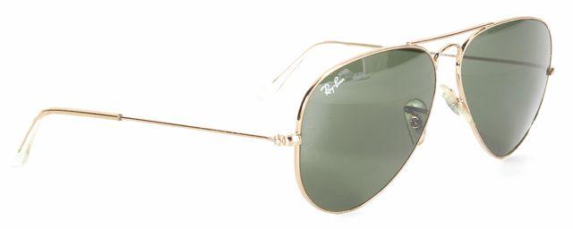 RAY-BAN Gold Metal Green Lens Aviator Sunglasses