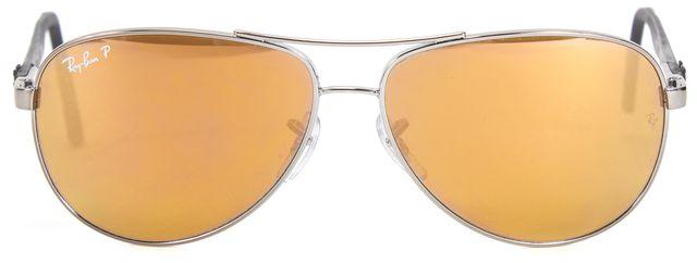 RAY-BAN Gray Wire Frame Polarized Lens Aviator Sunglasses w/ Case