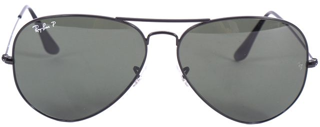 RAY-BAN Black Wire Frame Polarized Lens Aviator Sunglasses