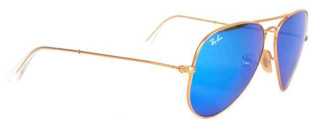 RAY-BAN Gold Wire Frame Blue Mirrored Lens Aviator Sunglasses w/ Case