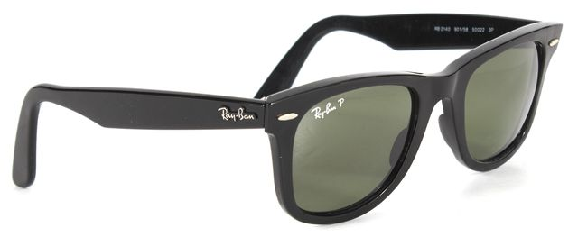 RAY-BAN Black Acetate Square Wayfarer Polarized Sunglasses