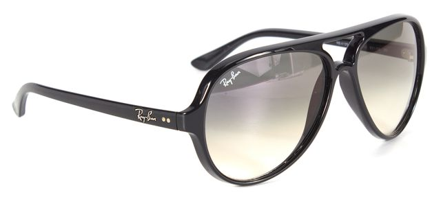 RAY-BAN Dark Gray Acetate Gradient Lens Cats 500 Aviator Sunglasses w/ Case