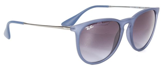 RAY-BAN Matte Blue Acetate Gradient Lens Erika Round Sunglasses w/ Case