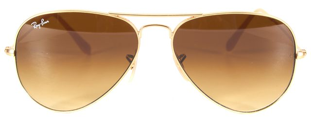 RAY-BAN Gold Metal Frame Gradient Lens Large Aviator Sunglasses w/ Case