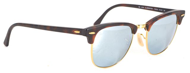 RAY-BAN Brown Mirrored Lens Clubmaster Rectangular Sunglasses