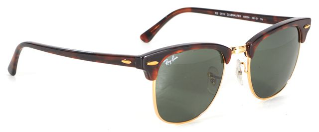 RAY-BAN Brown Tortoise Acetate & Metal Frame Clubmaster Sunglasses