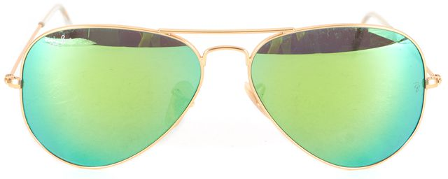 RAY-BAN Gold Green Mirrored Lens Large Metal Aviator Sunglasses
