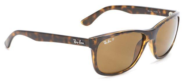 RAY-BAN Brown Tortoise Rectangular Acetate Frame Sunglasses W/ Case
