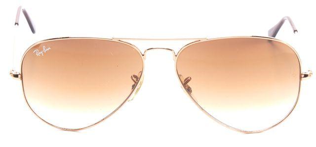RAY-BAN Brown Gold Tone Frame Aviator Sunglasses