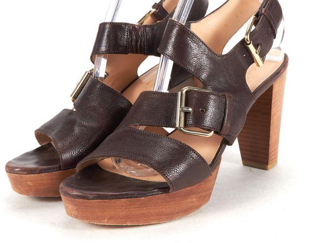 ROBERT CLERGERIE Brown Leather Platform Wooden Sandal Heels