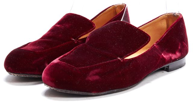 ROBERT CLERGERIE Burgundy Red Velvet Loafers Flats