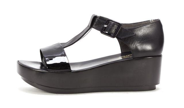 ROBERT CLERGERIE Black Patent Leather Ankle Strap Platform Sandals