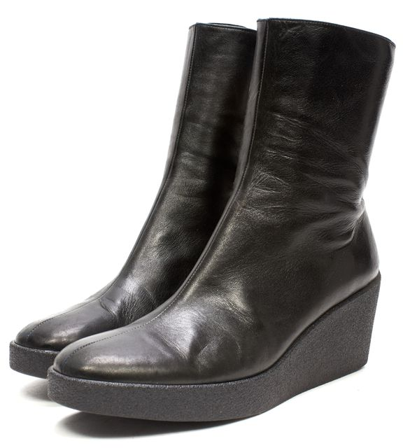 robert clergerie black leather wedge ankle boots size 11