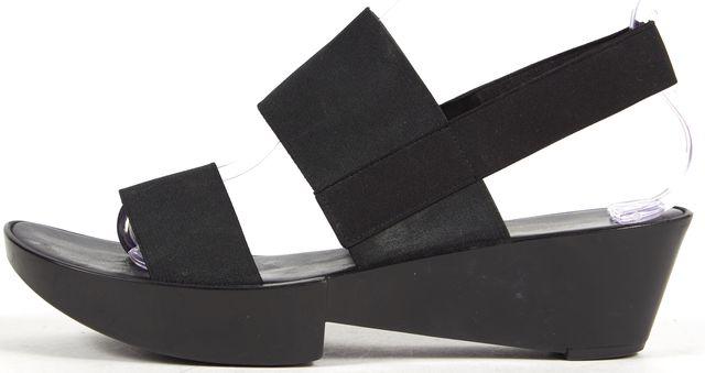 ROBERT CLERGERIE Black Elastic Band Slingback Platform Sandals