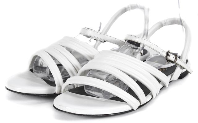 ROBERT CLERGERIE White Leather Strappy Flat Sandals