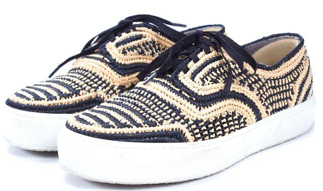 ROBERT CLERGERIE Black Beige Woven Raffia Sneakers