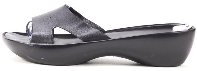 ROBERT CLERGERIE Black Leather Slip-On Wedged Sandals