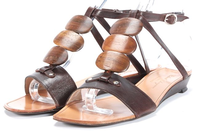 ROBERT CLERGERIE Brown Leather Slingback Open Toe Sandals