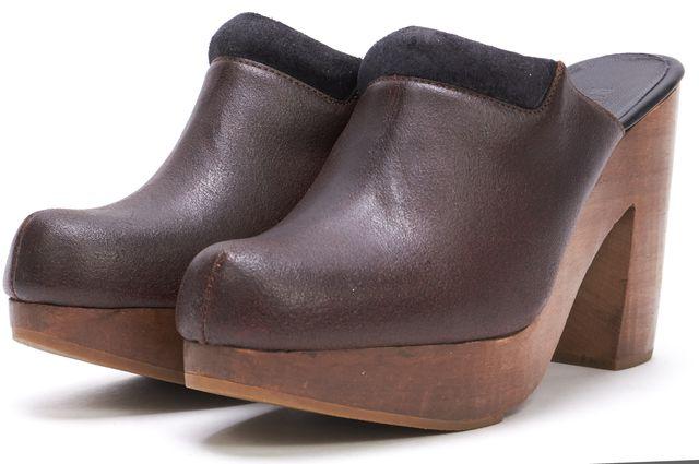 RACHEL COMEY Brown Leather Slip-on Clogs Wooden Heels