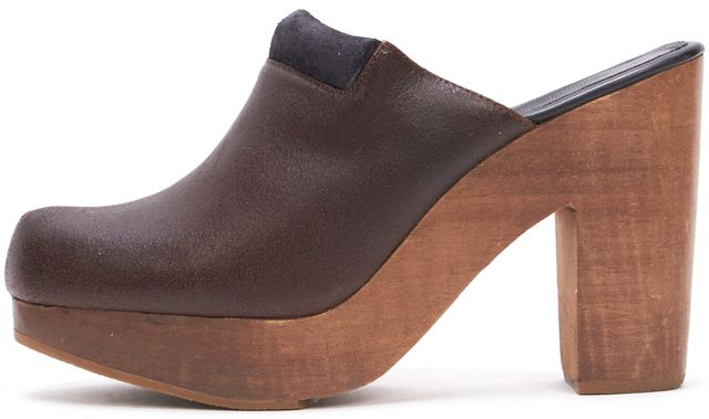 RACHEL COMEY Brown Leather Slip-on Clogs Wooden Heels