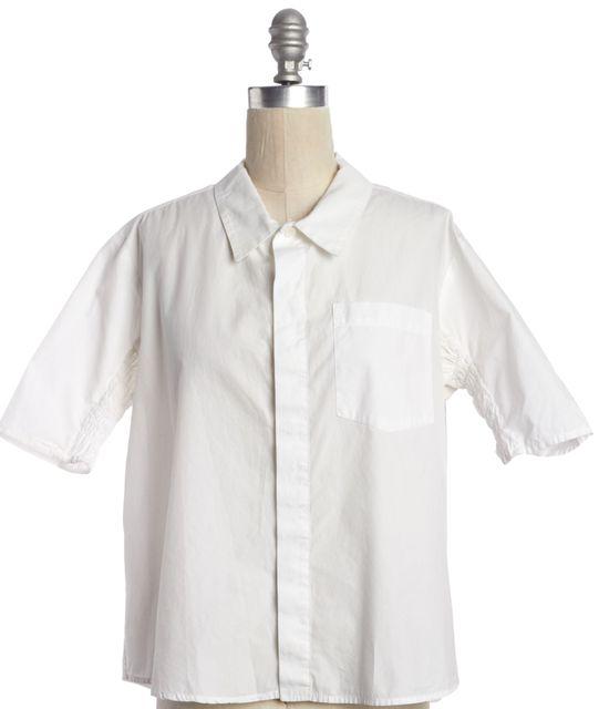 RACHEL COMEY White Cotton Button Down Shirt Top