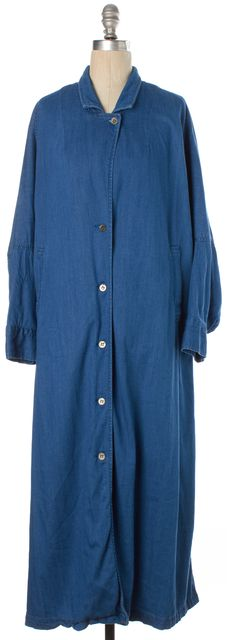 RACHEL COMEY Blue Basic Button Front Long Oversized Denim Jacket