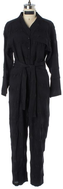 RACHEL COMEY Black Button Front Long Sleeve Silk Belted Jumpsuit/ Romper