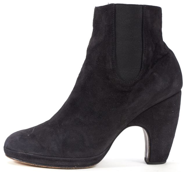 RACHEL COMEY Black Suede Heeled Chelsea Ankle Boots